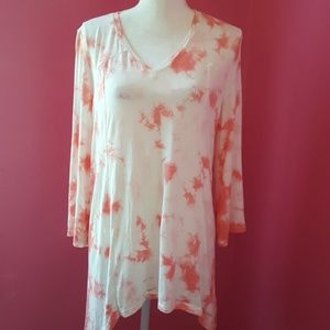New Directions Pink & White Tunic EUC